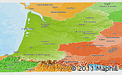 Physical Panoramic Map of Aquitaine, political shades outside