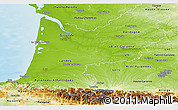 Physical Panoramic Map of Aquitaine