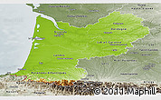 Physical Panoramic Map of Aquitaine, semi-desaturated