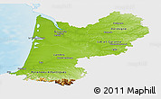 Physical Panoramic Map of Aquitaine, single color outside