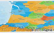 Political Panoramic Map of Aquitaine
