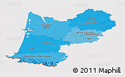Political Shades Panoramic Map of Aquitaine, cropped outside