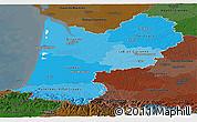 Political Shades Panoramic Map of Aquitaine, darken