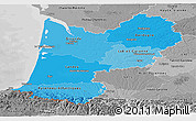 Political Shades Panoramic Map of Aquitaine, desaturated