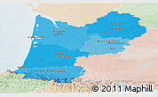 Political Shades Panoramic Map of Aquitaine, lighten