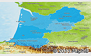 Political Shades Panoramic Map of Aquitaine, physical outside