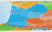 Political Shades Panoramic Map of Aquitaine