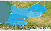Political Shades Panoramic Map of Aquitaine, satellite outside