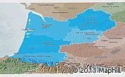 Political Shades Panoramic Map of Aquitaine, semi-desaturated