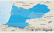 Political Shades Panoramic Map of Aquitaine, shaded relief outside