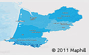 Political Shades Panoramic Map of Aquitaine, single color outside