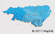 Political Shades 3D Map of Pyrénées-Atlantiques, cropped outside