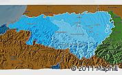 Political Shades 3D Map of Pyrénées-Atlantiques, darken