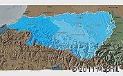 Political Shades 3D Map of Pyrénées-Atlantiques, darken, semi-desaturated