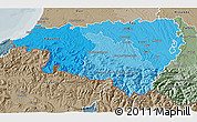 Political Shades 3D Map of Pyrénées-Atlantiques, semi-desaturated