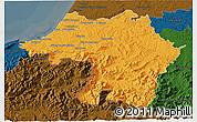 Political 3D Map of Bayonne, darken