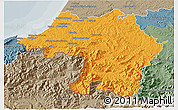 Political 3D Map of Bayonne, semi-desaturated