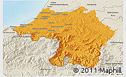 Political 3D Map of Bayonne, shaded relief outside