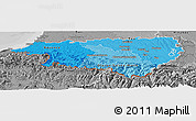 Political Shades Panoramic Map of Pyrénées-Atlantiques, desaturated