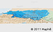 Political Shades Panoramic Map of Pyrénées-Atlantiques, lighten
