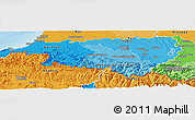 Political Shades Panoramic Map of Pyrénées-Atlantiques