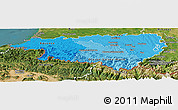 Political Shades Panoramic Map of Pyrénées-Atlantiques, satellite outside