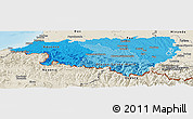 Political Shades Panoramic Map of Pyrénées-Atlantiques, shaded relief outside