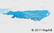 Political Shades Panoramic Map of Pyrénées-Atlantiques, single color outside