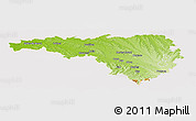 Physical Panoramic Map of Pau, cropped outside