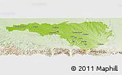 Physical Panoramic Map of Pau, lighten