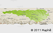 Physical Panoramic Map of Pau, shaded relief outside