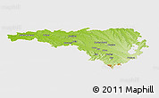 Physical Panoramic Map of Pau, single color outside