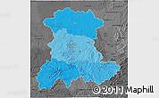 Political Shades 3D Map of Auvergne, darken, desaturated