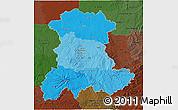 Political Shades 3D Map of Auvergne, darken