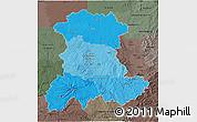 Political Shades 3D Map of Auvergne, darken, semi-desaturated
