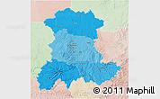 Political Shades 3D Map of Auvergne, lighten