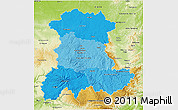 Political Shades 3D Map of Auvergne, physical outside