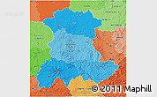 Political Shades 3D Map of Auvergne