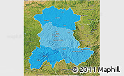 Political Shades 3D Map of Auvergne, satellite outside