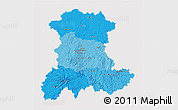 Political Shades 3D Map of Auvergne, single color outside