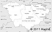 Silver Style Simple Map of Haute-Loire