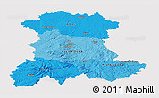 Political Shades Panoramic Map of Auvergne, cropped outside