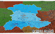 Political Shades Panoramic Map of Auvergne, darken
