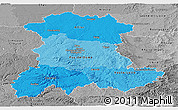 Political Shades Panoramic Map of Auvergne, desaturated