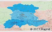 Political Shades Panoramic Map of Auvergne, lighten
