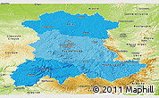Political Shades Panoramic Map of Auvergne, physical outside