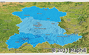 Political Shades Panoramic Map of Auvergne, satellite outside