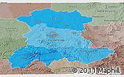 Political Shades Panoramic Map of Auvergne, semi-desaturated