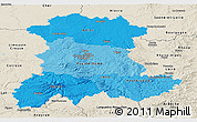 Political Shades Panoramic Map of Auvergne, shaded relief outside
