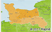 Political Shades 3D Map of Basse-Normandie, physical outside